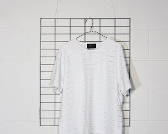 minimal boxy white subtle patterned tee blouse with shiny stripes