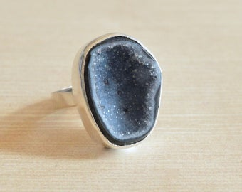 Cavernous Sparkling Geode Ring // Geode Jewelry // Druzy Jewelry // Sterling Silver // Village Silversmith
