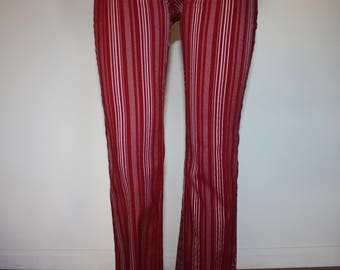 "29"" Mid-Rise Waist - Deep Red with White Striped Stretchy Trouser Pants"