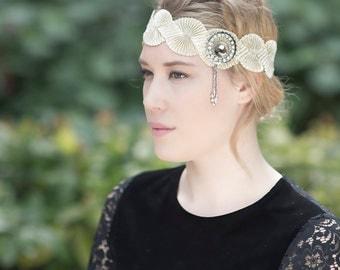Gold Flapper Headband, Great Gatsby 1920s flapper Headband, Hair Jewelry, Roaring 20s Headband, Vintage Silver Jewelry, Twist Headband
