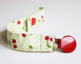 Cherries Soothie Pacifier Clip, Pacifier holder, Soothie pacifier clip, Baby pacifier clip, Binky Clips, Paci Clip