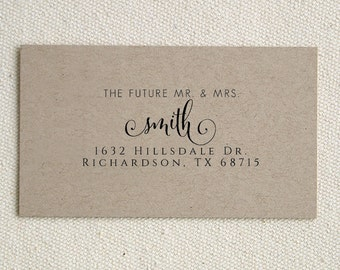 The Future Mr. & Mrs. Personalized Wedding Family Names Return Address Stamp Wedding Handle Mounted Rubber Stamp Or Pre-Inked Stamp RE858