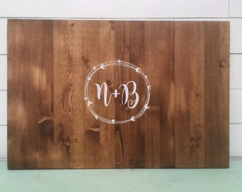 PERSONALIZED wedding Guest Book, Hand Painted Wood Sign, Guest book alternative. Custom guest book