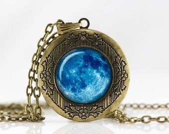 Blue Moon Locket Necklace Blue Moon jewelry Personalized Photo Locket Customized with your Photo pendant  photo locket Galaxy Locket jewelry