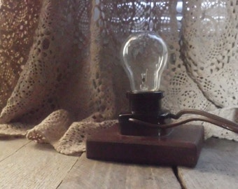 Antique Wood Block Lamp - Industrial Lighting