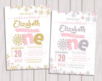 WINTER ONEDERLAND INVITATION, Pink and Silver First Birthday Invitation, Pink and Gold Winter Onederland Invitation, Snowflake Invitation