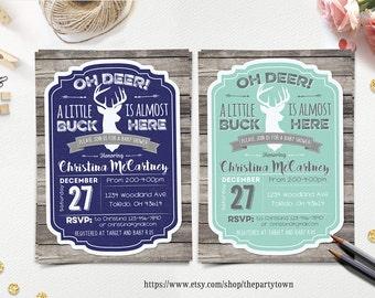 Oh Deer Baby Shower Invitation, Little Deer Baby Shower, Rustic Boy Baby  Shower,
