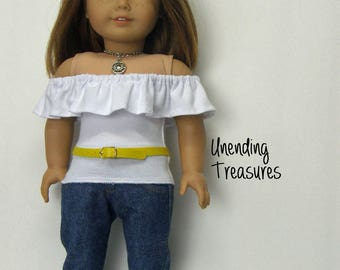 18 inch doll clothes AG doll clothes made to fit like american girl doll clothes white off the shoulder top