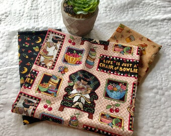 Bundle of 3 rare Mary Engelbreit fabric pieces; life is just a chair of bowlies; Cranston fabrics; moon; sunflowers; gardening; quilting