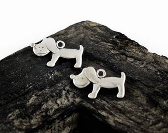 4 Antique Silver Dog Charms, Puppy Charm, 23x14mm, Dog Pendants Charms, DIY Charms, Jewelry Supplies
