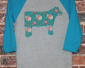 SHOW STEER COW TShirt T Shirt Tee Show Shirt Pink Roses Turquoise Aqua Stockshow Stock Show Baseball Woman's Girls Ladies