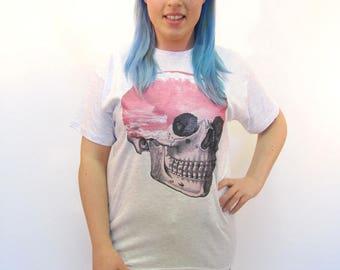 Skull Tshirt Atomic Cloud Pink Pastel Goth Surreal Art Oversized Tee