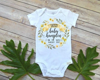 Pregnancy Reveal, Baby on the Way, Pregnancy Announcement, Personalized baby reveal, Custom Baby bodysuit, Baby Name shirt, Baby Reveal gift