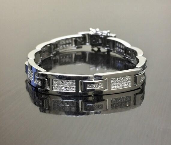 Men s 14K White Gold Princess Cut Diamond Bracelet 14K