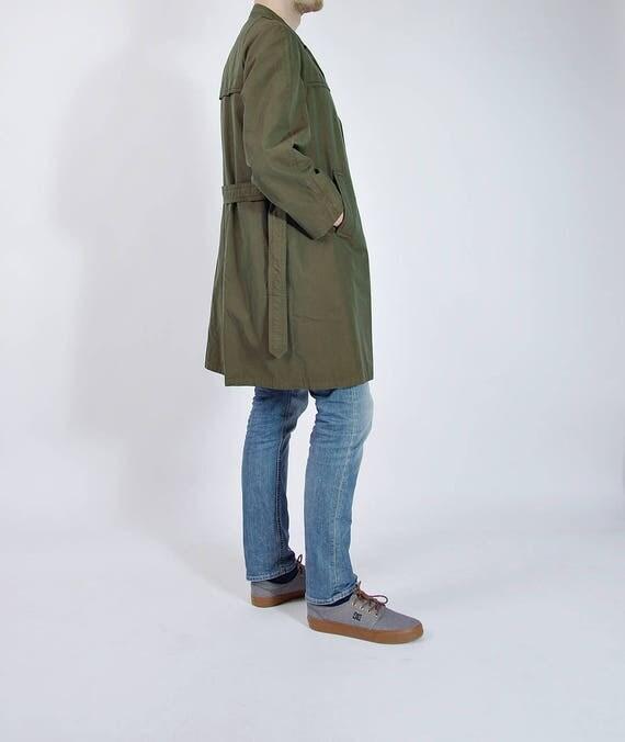 SALE - 70s Wet Wind Cotton Cotton Khaki Cameleon Trench Coat / Size L/XL