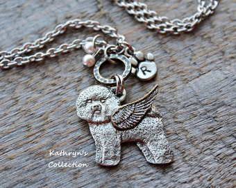 Bichon Frise Memorial Necklace, Bichon Angel, Bichon Mom, Pet Memorial Jewelry