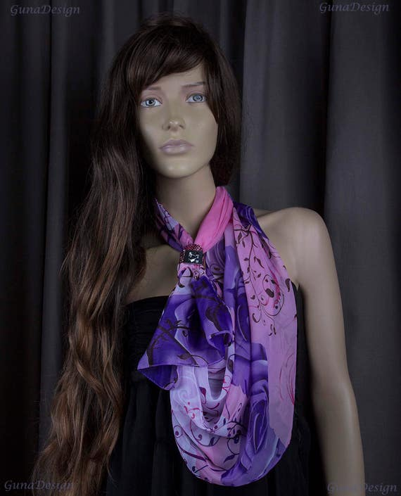 Chiffon Pink Purple Flower Motive Scarf with Bracelet by GunaDesign