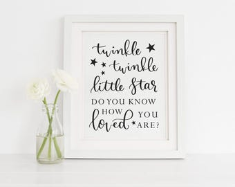 Twinkle Twinkle Little Star Do You Know How Loved You Are Printable, Baby Nursery Decor, Twinkle Twinkle Nursery Sign, Instant Download