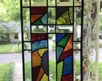 Stained Glass Bevel Cross 7x11 in Stunning Abstract Colors in Stained Glass with Bevels