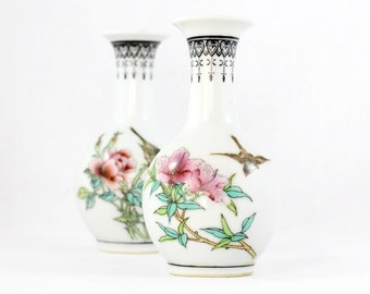 A Pair of Chinese Ceramic Vases, Vintage Chinese Vases, Small Vases with Flower and Bird Decoration