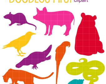Colorful Animal Silhouettes SET 2 Digital Clip Art for Scrapbooking Card Making Cupcake Toppers Paper Crafts
