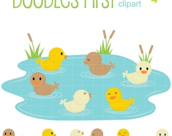 Ducklings Swimming In The Pond Clip Art for Scrapbooking Card Making Cupcake Toppers Paper Crafts
