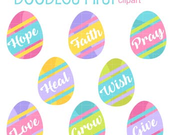 Inspirational Easter Eggs Digital Clip Art for Scrapbooking Card Making Cupcake Toppers Paper Crafts