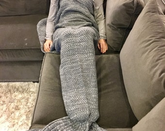 Gray Adult Mermaid Tail Blanket