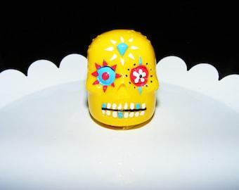 Bright Yellow Sugar Skull with Pineapple Flavored Lip Gloss