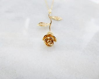 Gold Rose Necklace Beauty And The Beast Jewelry Fairytale Flower Belle Emma Watson Accessories  Wife Girlfriend Womens Gift For Her Spring