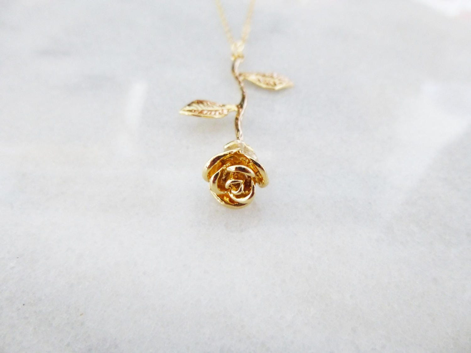Gold Rose Necklace Beauty And The Beast Jewelry Fairytale