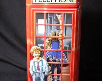 Vintage Churchill's Telephone Kiosk, English Red Telephone Kiosk, Money Box,Tin Money Box,  London Collectible Money Box, Tin Piggy Bank