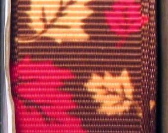 "2 Yards 7/8"" Autumn Fall All Leaves Print Grosgrain Ribbon"