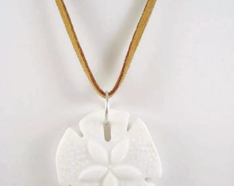 White Sea Glass Sand Dollar Necklace Beach Summer Ocean Jewelry