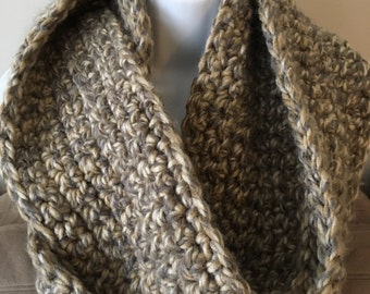BROWN & TAUPE THICK Infinity Scarf, Single Strand, Soft and Chunky, Other Colors Available