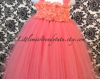 Coral Tutu Dress, Coral Flower Girl Tutu Dress, Flower Girl Tutu Dress, Coral and Peach Tutu Dress, Coral Peach Flower Girl Tutu Dress