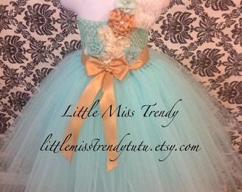 Aqua Blue Tutu Dress, Aqua Gold Flower Girl Dress, Flower Girl Dress, Gold Aqua Flower Girl Tutu Dress, One Shoulder Tutu Dress, Aqua Tutu