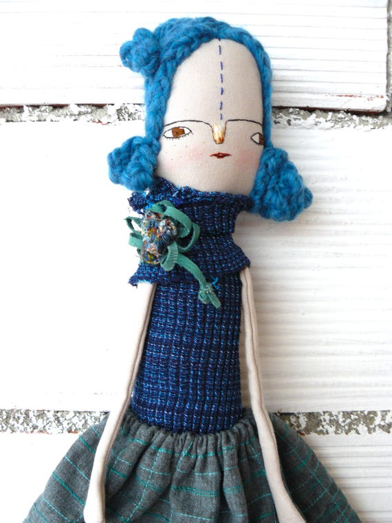 Big size  Special doll: 19,5 inches / art doll. Braided blue hair.
