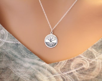 Sterling Silver Etched Tree of Life with Roots Charm Necklace, Tree of Life with Roots Necklace, Tree of Life Pendant Necklace, Tree Pendant