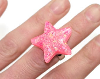 Glow in the Dark Star Ring Iridescent Hot Pink Kawaii Ring Sparkly Rave Ring Unique Statement Jewelry