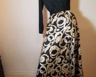 FREE  SHIPPING   1960 Metallic  Maxi  Gown
