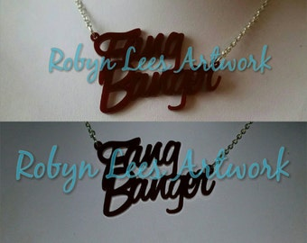 Dark Red Fang Banger Laser Cut Maroon Acrylic Necklace on Silver, Gold or Black Chain. Vampire, Vamp, Costume, Word Pendant, Halloween