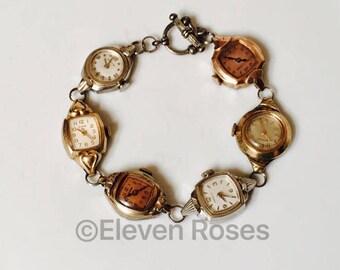 Wrist Watch Bracelet Made of 6 Vintage Mechanical Watches  Bulova Elgin Benrus Emerson Caravelle