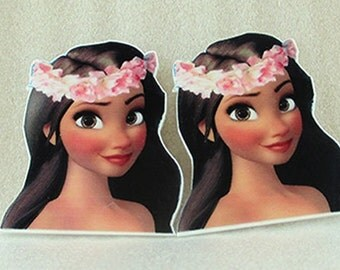 Princess Moana-Hawaiian Inspired-Planar Resin-Shrinky Dink-Cabochon-Plastic-Party Decor-Embellishment-Hair bow Center-supplies-Girls- 2 Pcs
