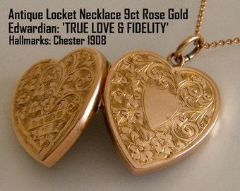 1908 Antique Locket Necklace Solid 9ct Antique Gold Locket Rose Gold Heart Locket Anniversary Wedding Gift for Bride