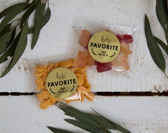 20 Round Stickers // His & Her Favorite Gold Foil