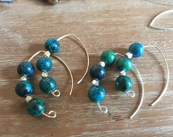 Chrysocolla  Drop Earrings / Half Hoop /  qty 1
