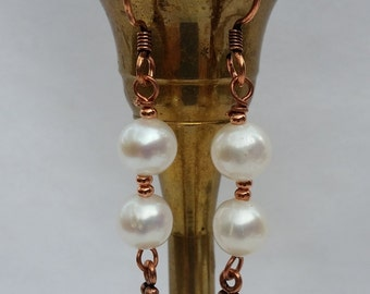 Freshwater Pearl With Copper Beads
