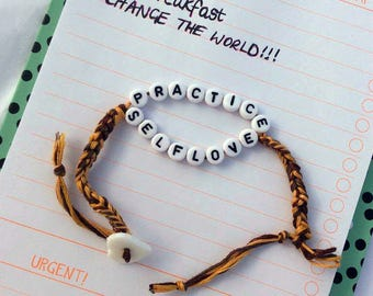 Practice Self Love bracelet, custom feminist gift, self care, personalised friendship bracelet, mental health awareness, anxiety bracelet