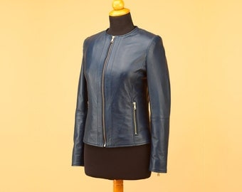 Blue leather jacket, stylish jacket, waisted jacket, women jacket, winter jacket, fashion jacket, stylish jacket, leather jacket women